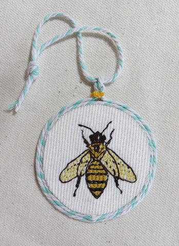 Honey Bee Ornament  Embroidered