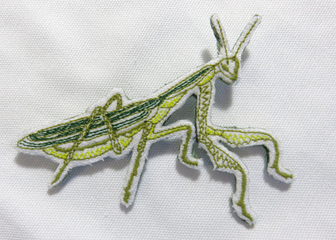 """Jane"" Praying Mantis Pin Embroidered"
