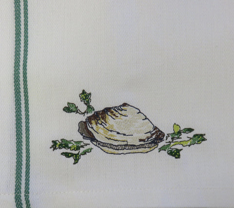 Steamer-Embroidered Clam Towel