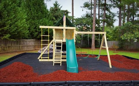 Premier Swing Set: 10 ft Wave Slide, Rock Climbing Wall, 2 Ladders, 3 Belt Swings & Trapeze