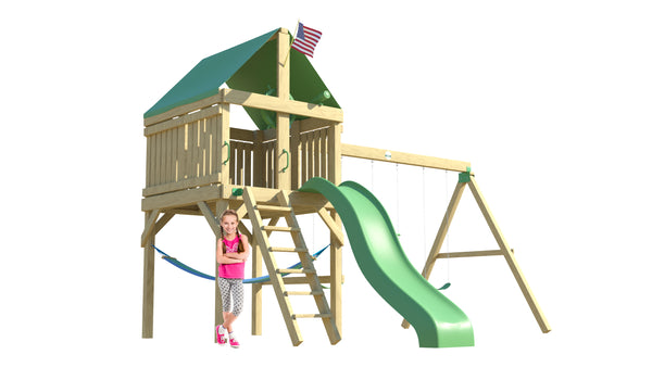 The Adventurer Swing Set from the SwingSet Co. is great for an outdoor play area, backyard, or open area. It is great for outdoor activity family time and everyone to enjoy. The playset includes many accessories for endless fun. It is a 13' x 19' play set which consists of an extra large fort, belt swings, trapeze bar, 10' wave slide and under fort hammock.