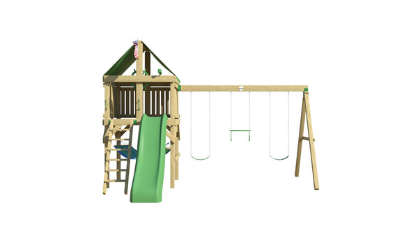 Adventurer Swing Set: 10 ft Wave Slide, Ladder, 2 Belt Swings & Trapeze