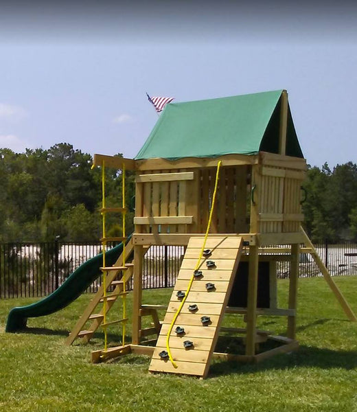 Summit Swing Set: 10 ft Wave Slide, Rock Climbing Wall, 2 Ladders, 2 Belt Swings & Trapeze