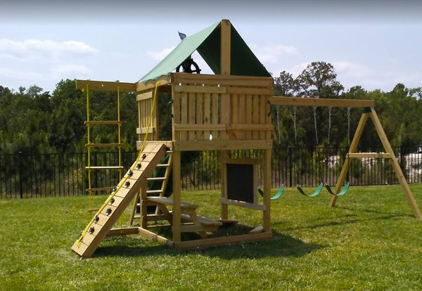 Premier Swing Set: 10 ft Wave Slide, Rock Climbing Wall, 3 Belt Swings, 2 Ladders & Trapeze