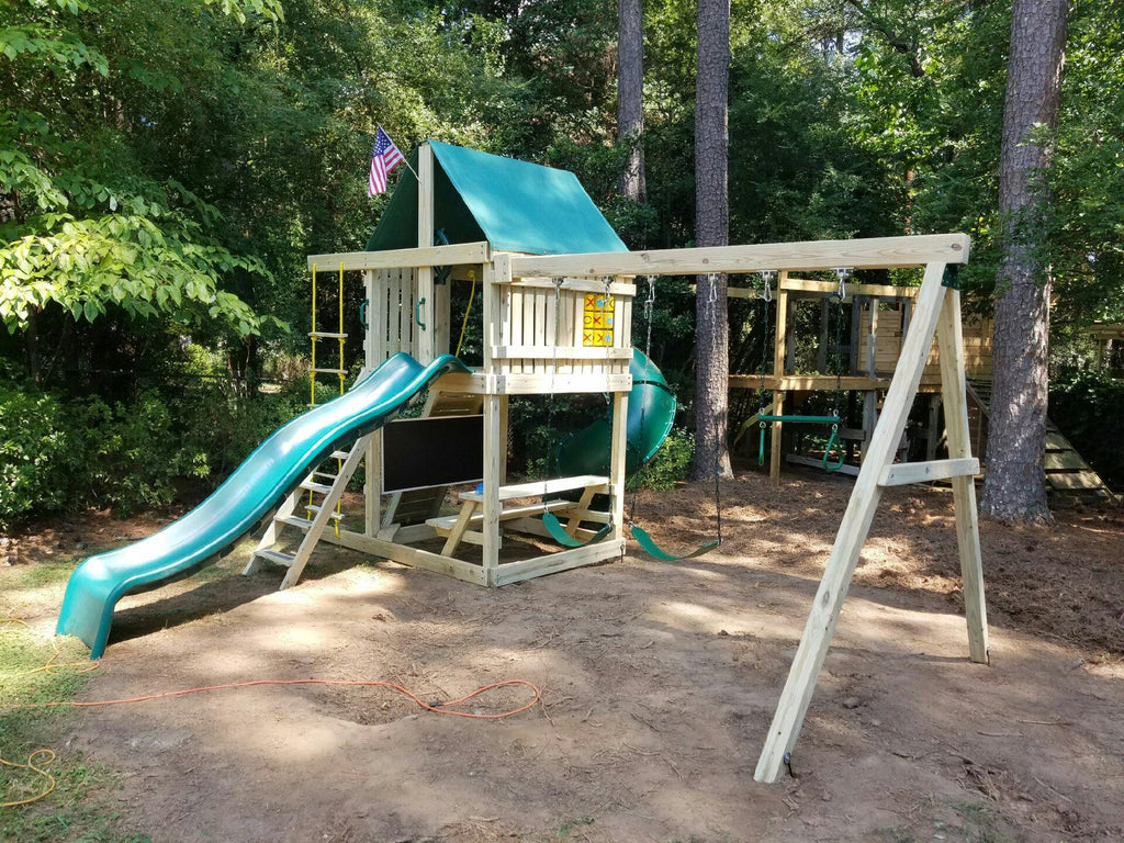Ultimate Swing Set Deluxe Spiral Slide 10 Ft Wave Slide Rock