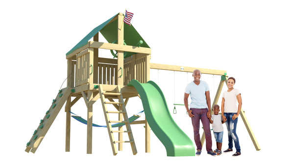The Explorer Swing Set from The SwingSet Co. is great for an outdoor play area, backyard, or open area. It is great for outdoor activity family time and everyone to enjoy. The playset includes many accessories for endless fun. It is a 16' x 16' play set which consists of an extra large fort, belt swings, trapeze bar, 10' wave slide, 6' rock climbing wall and under fort hammock.