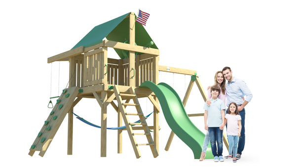 The Explorer Space Saver Swing Set from The SwingSet Co. is great for an outdoor play area, backyard, or open area. It is great for outdoor activity family time and everyone to enjoy. The playset includes many accessories for endless fun. It is a 16' x 16' play set which consists of an extra large fort, belt swings, trapeze bar, 10' wave slide, 6' rock climbing wall and under fort hammock.