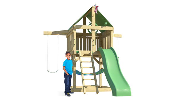 The Pathfinder Swing Set from The SwingSet Co. is great for an outdoor play area, backyard, or open area. It is great for outdoor activity family time and everyone to enjoy. The playset includes many accessories for endless fun. It is a 13' x 11' play set which consists of an extra large fort, a belt swing, trapeze bar, 10' wave slide and an under fort hammock.