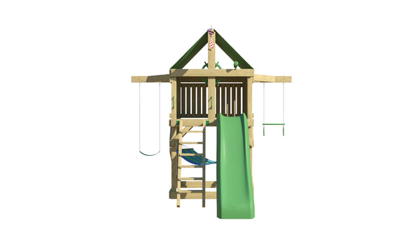 Pathfinder Swing Set: Space Saver Edition with 10 ft Wave Slide, Ladder, Belt Swing & Trapeze