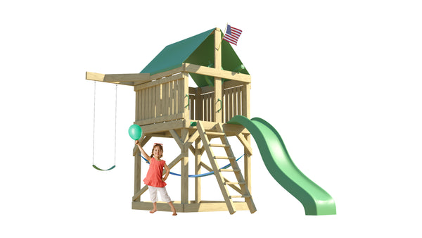 The Pioneer Swing Set from The SwingSet Co. is great for an outdoor play area, backyard, or open area. It is great for outdoor activity family time and everyone to enjoy. The playset includes many accessories for endless fun. It is a 13' x 8' play set which consists of an extra large fort, a belt swing, 10' wave slide and an under fort hammock.