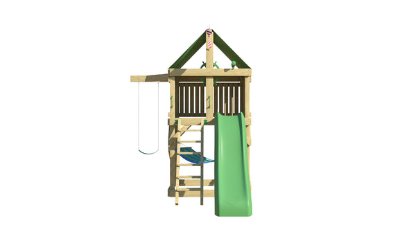 Pioneer Swing Set: Space Saver Edition with 10 ft Wave Slide, Ladder & Belt Swing