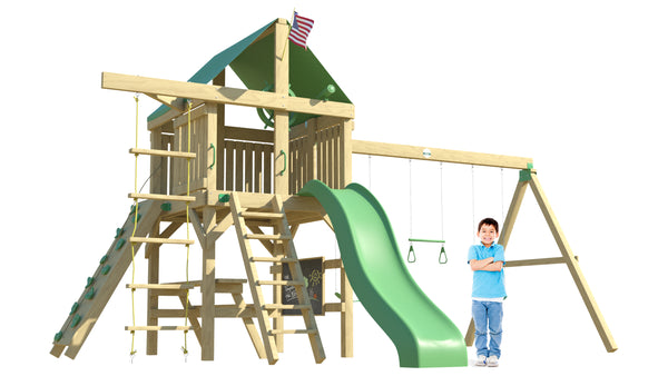 The Premier Swing Set from The SwingSet Co. is great for an outdoor play area, backyard, or open area. It is great for outdoor activity family time and everyone to enjoy. The playset includes many accessories for endless fun. It is a 16' x 19' play set which consists of an extra large fort, belt swings, trapeze bar, 10' wave slide, 6' rock climbing wall, chalkboard, rope ladder, picnic table and under fort hammock.