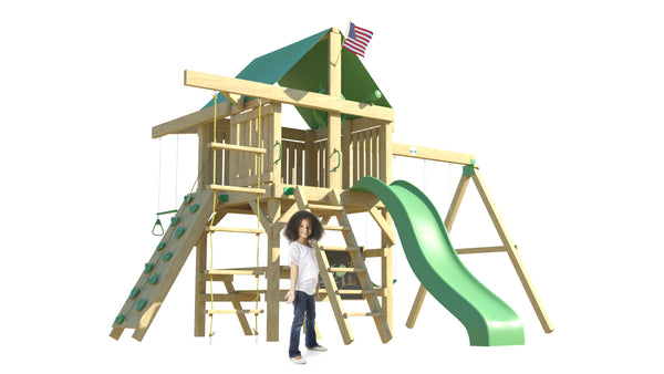 The Summit Swing Set: Space Saver Edition from The SwingSet Co. is great for an outdoor play area, backyard, or open area. It is great for outdoor activity family time and everyone to enjoy. The playset includes many accessories for endless fun. It is a 16' x 16' play set which consists of an extra large fort, belt swings, trapeze bar, 10' wave slide, 6' rock climbing wall, chalkboard, rope ladder, picnic table and under fort hammock.