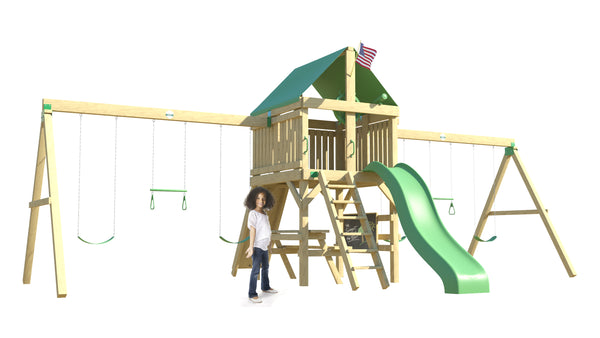 The Swing Extreme Swing Set from The SwingSet Co. is great for an outdoor play area, backyard, or open area. It is great for outdoor activity family time and everyone to enjoy. The playset includes many accessories for endless fun. It is a 17' x 25' play set which consists of an extra large fort, belt swings, trapeze bars, 10' wave slide, 6' rock climbing wall, chalkboard and picnic table.