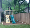 The Pioneer Space Saver Edition Swing Set from The SwingSet Co. is great for family time and friends for outdoor play. It is a great small backyard playset with many accessories for multiple activities including extra large fort, a belt swing, 10' wave slide and an under fort hammock.