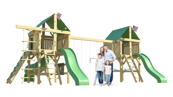 The Twin Peaks Swing Set from The SwingSet Co. is great for an outdoor play area, backyard, or open area. It is great for outdoor activity family time and everyone to enjoy. The playset includes many accessories for endless fun. It is a 17' x 27' play set which consists of two extra large forts, belt swings, trapeze bar, two 10' wave slides, 6' rock climbing wall, chalkboard, rope ladder, picnic table, under fort hammock and a 5' tall spiral tube slide.