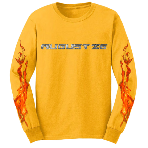 Post Malone Flames Gold LS Tee