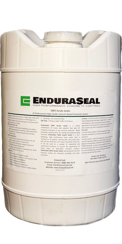 "EnduraSeal 100% Acrylic ""Wet Look"" Semi Gloss Concrete Sealer Solvent Base - 5 Gallon"