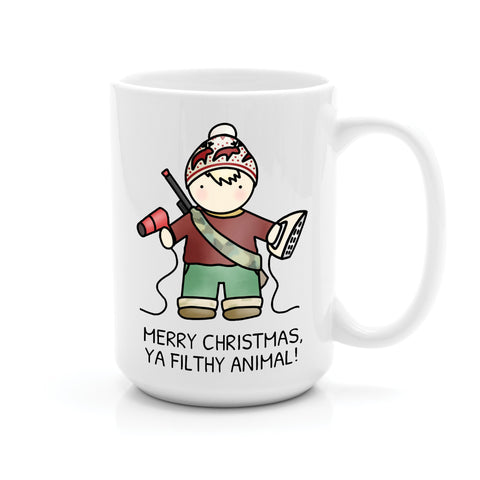 KEVIN HOME ALONE MERRY CHRISTMAS, YOU FILTHY ANIMAL MUG