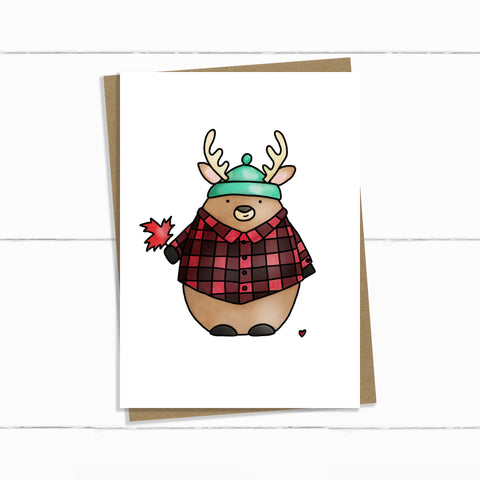 hoser deer in plaid