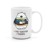 UGLY SWEATER AND EGGNOG BEAR MUG