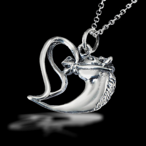 Collier pendentif - Coeur Cheval - argent massif