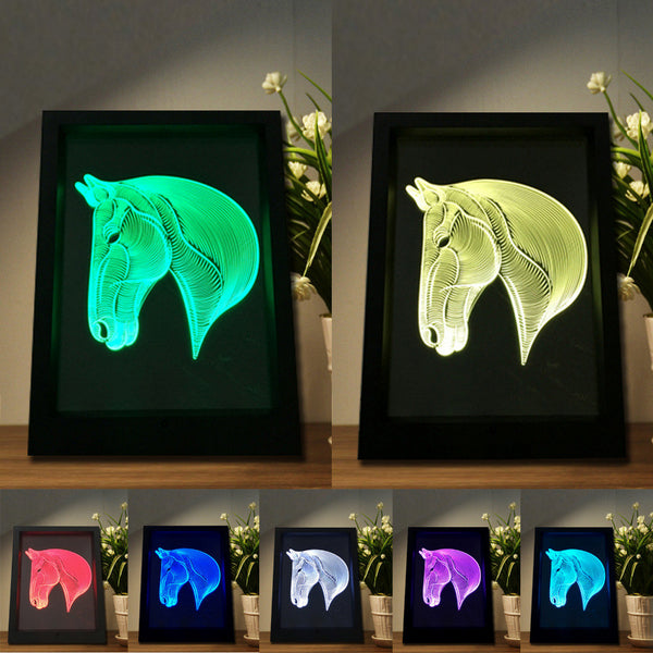 Carde Veilleuse Cheval 3D Laser led multicolore