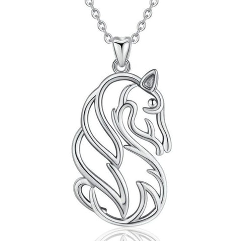 Collier pendentif Cheval - argent massif