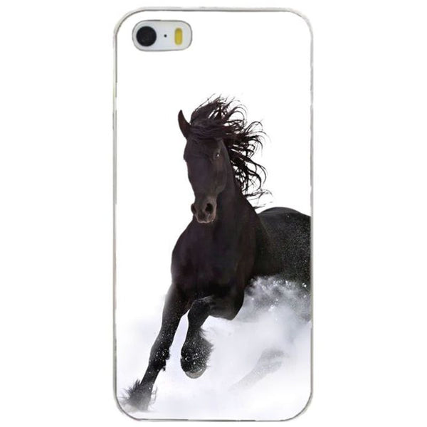 Coque Protection iPhone - Cheval noir au galop pour iPhone 6, 6 plus, 7, 7 Plus, 8, 8 Plus
