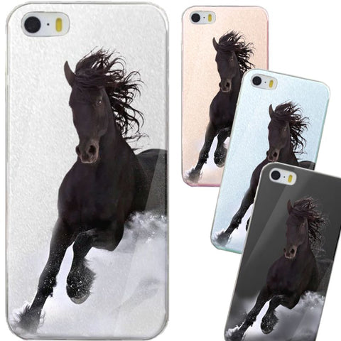Coque Protection iPhone Cristal transparent - Cheval noir au galop pour iPhone 4, 5, 6, 6 plus, 7, 7 Plus, 8, 8 Plus