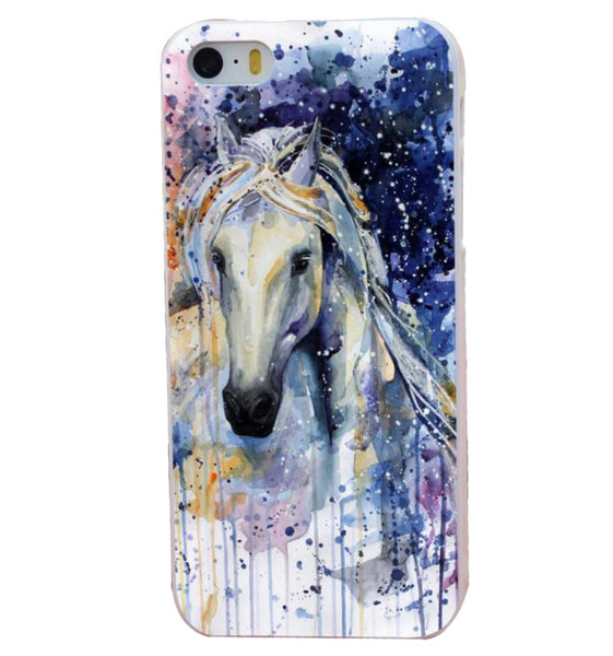 Coque Protection iPhone Cheval Aquarelle féerie pour iPhone 4, 5, 6, 6 plus, 7, 7 Plus, 8, 8 Plus