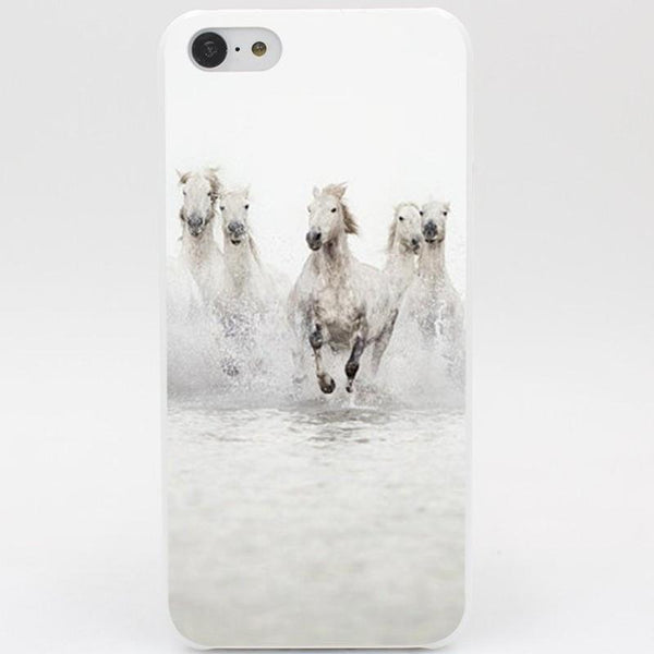 Coque de protection Chevaux blancs au galop pour iPhone 5, 6, 6+, 7, 7+