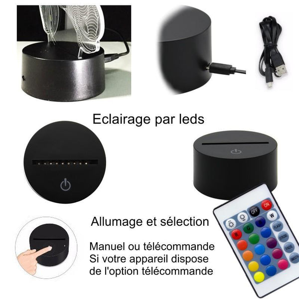 Veilleuse Tete de Cheval sport 3D Laser led multicolore Option télécommande