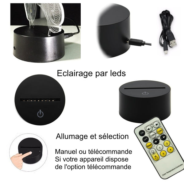 Veilleuse Cheval 3D Laser Led multicolore Option télécommande
