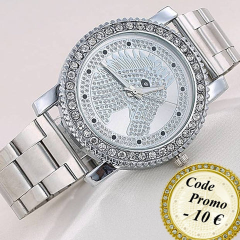 Montre Fashion Mode Cheval & Zircon - Bracelet métallique