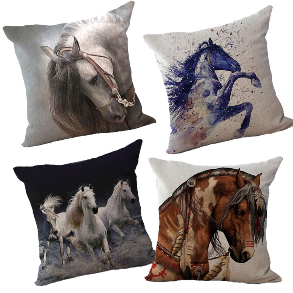 housse de coussin impression chevaux chevaux passion. Black Bedroom Furniture Sets. Home Design Ideas