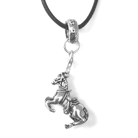 Collier cuir pendentif Cheval argent
