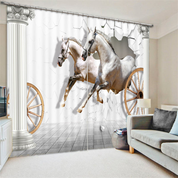 rideaux imprim s hd chevaux blancs sortant d 39 un mur chevaux passion. Black Bedroom Furniture Sets. Home Design Ideas