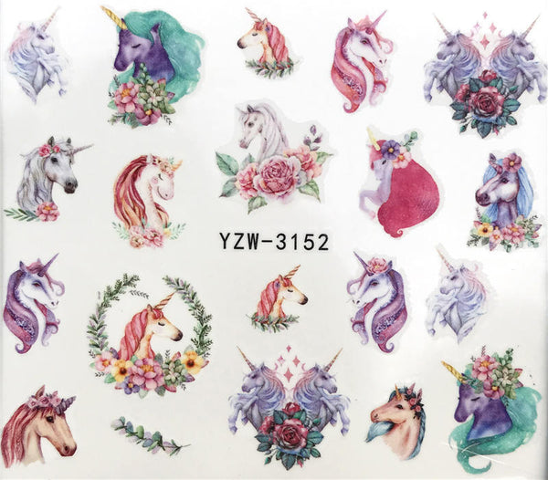 Stickers transferts Chevaux Licornes pour ongles
