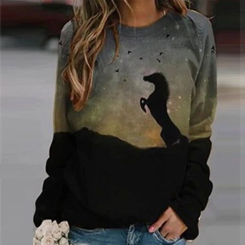Sweat-shirt - impression sublimation Cheval debout