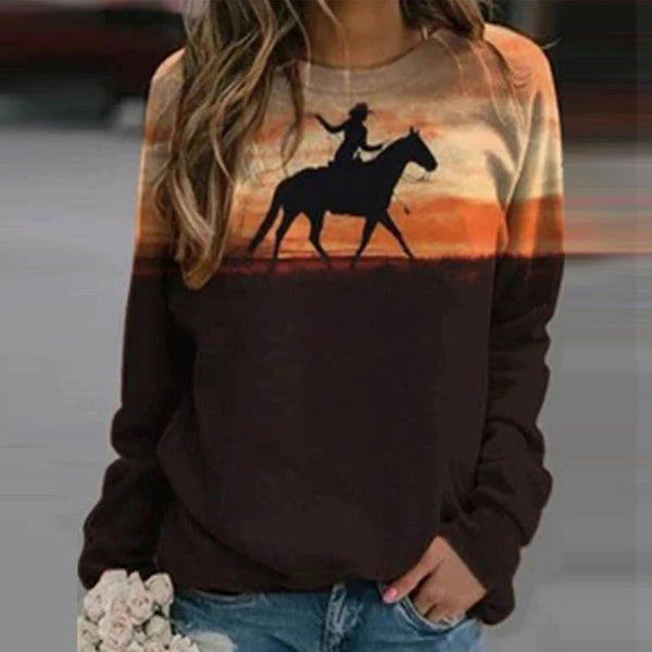 Sweat-shirt - impression sublimation Cheval et femme cowgirl