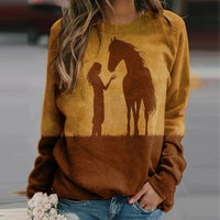 Sweat-shirt - impression sublimation Cheval et femme debout
