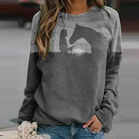 Sweat-shirt - impression sublimation Cheval et femme fond gris