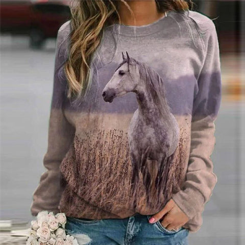 Sweat-shirt - impression sublimation Cheval gris