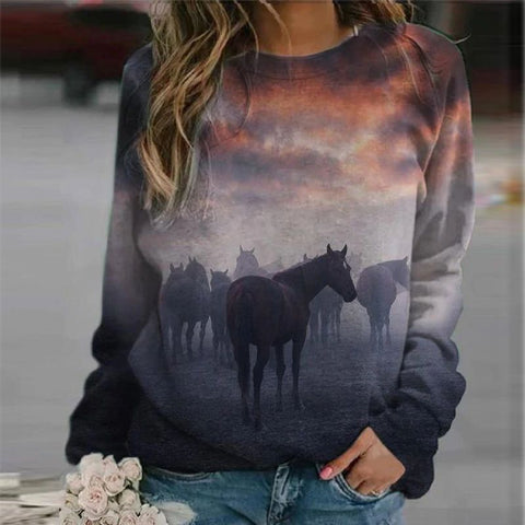 Sweat-shirt - impression sublimation Chevaux