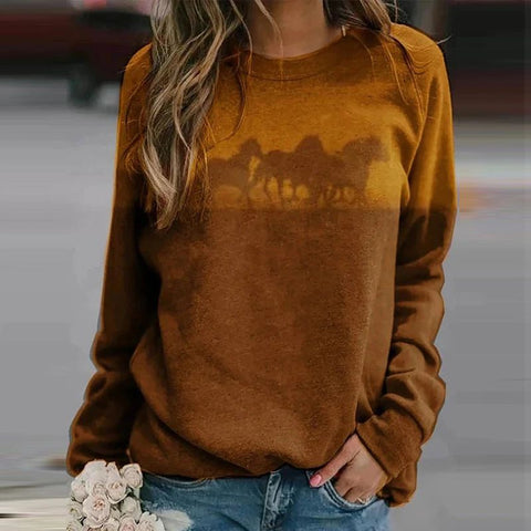 Sweat-shirt - impression sublimation Chevaux fond ocre