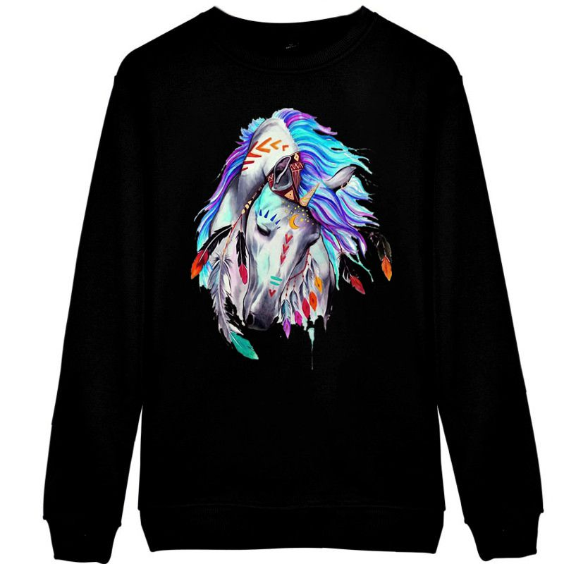 Sweat-shirt - impression artistique cheval Apache