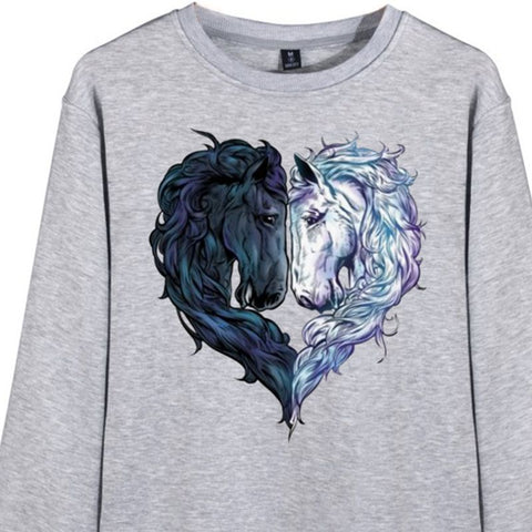 Sweat-shirt - impression chevaux coeur