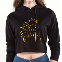 Sweat-shirt court à capuche - Marquage cheval couleur