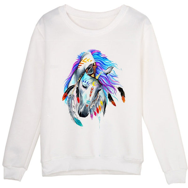 Sweat-shirt femme - impression artistique cheval Apache